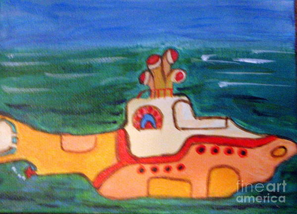 Submarine Art Print featuring the painting Beatles Yellow Submarine  by Elizabeth Arthur