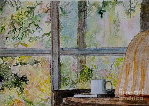 Soothing Calm Window Book Tea Coffee Nature Architecture Table Chair Reading Read Inside Outside Outdoors Indoor Pastel Sunday Vacation Holiday Retired Afternoon Evening Comfort Comfortable Interior Design Samanvitha Rao Watercolor Painting Easy Freedom Spring Summer Garden Backyard Flowers Art Print featuring the painting Beside A Window by Samanvitha Rao