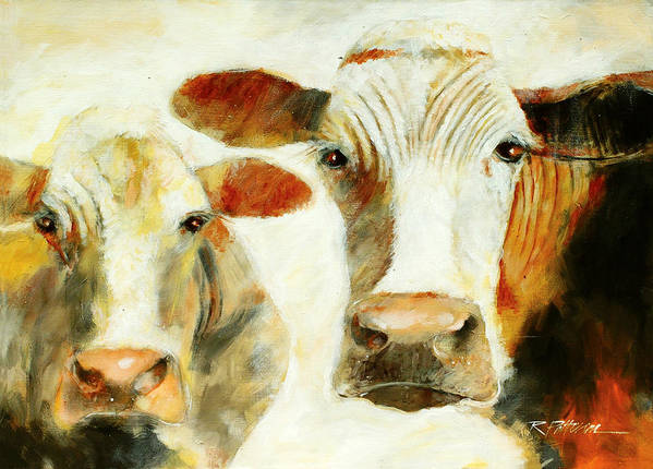 Animals Art Print featuring the painting Big Cow Little Cow by Ron Patterson