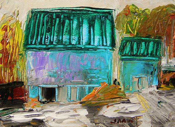 Farm Art Print featuring the painting Blue Buildings Together-musing by John Williams