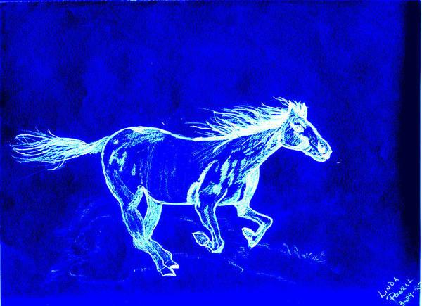 Digital Print Blue Horse Pencil Drawing Original Art Print featuring the digital art Blue Horse by Linda Powell