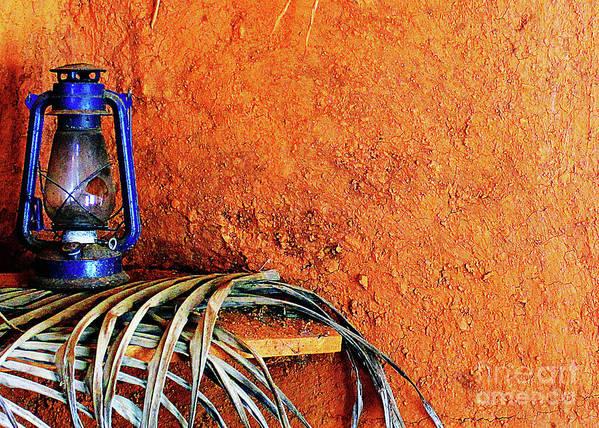Blue Art Print featuring the photograph Blue Lantern by Steve C Heckman