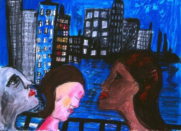 People Wander Along A City Promenade At Night Art Print featuring the drawing Blue Promenade by Nina Talbot