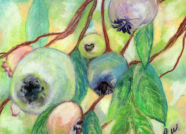 Blueberries Art Print featuring the painting Blueberries by Pamela Wilson