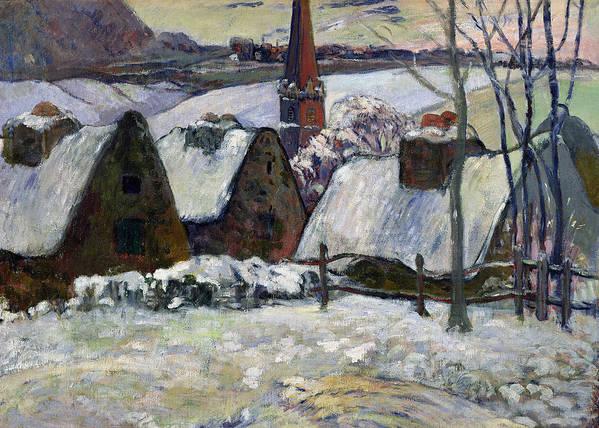 Breton Village Under Snow Art Print featuring the painting Breton Village Under Snow by Paul Gauguin