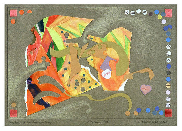 Collage Art Print featuring the mixed media Broken And Mended by Eileen Hale