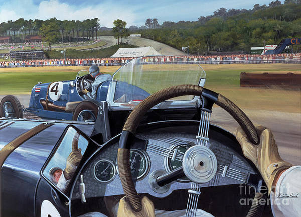 Brooklands - From The Hot Seat (w/c And Gouache On Paper) Racing; Car; Driver; Wheel; Track; Circuit; Race; Vintage; Thirties Art Print featuring the painting Brooklands From The Hot Seat by Richard Wheatland
