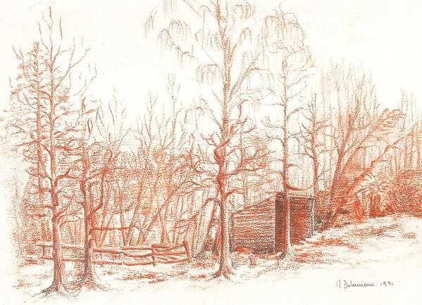 Landscape Art Print featuring the drawing Bullion by Muriel Dolemieux