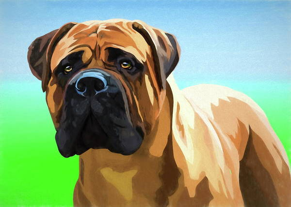 Bullmastiff Art Print featuring the pastel Bullmastiff by Alexey Bazhan