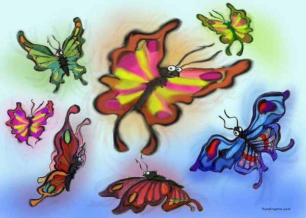 Butterfly Art Print featuring the digital art Butterflies by Kevin Middleton