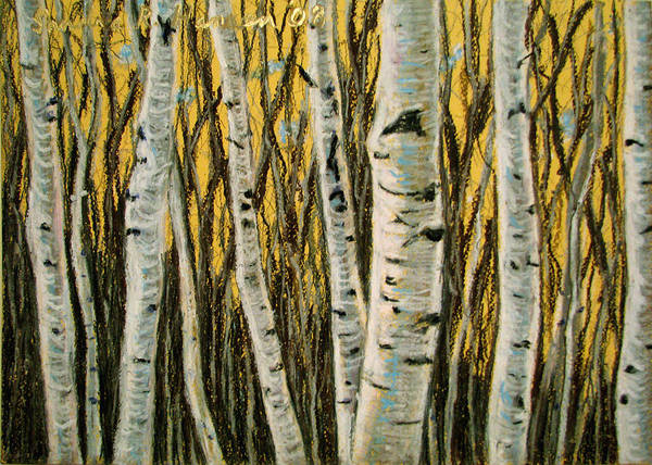 Birches Art Print featuring the painting Buttery Birches by Art Nomad Sandra Hansen