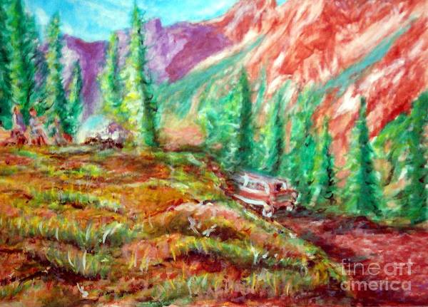 Camping Art Print featuring the painting Camping Out by Stanley Morganstein