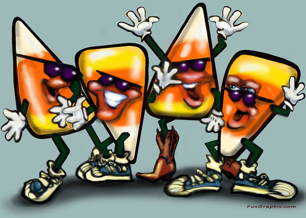 Candy Art Print featuring the digital art Candy Corn Gang by Kevin Middleton