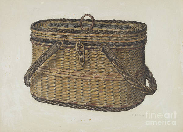 Art Print featuring the drawing Cap Basket by Samuel O. Klein