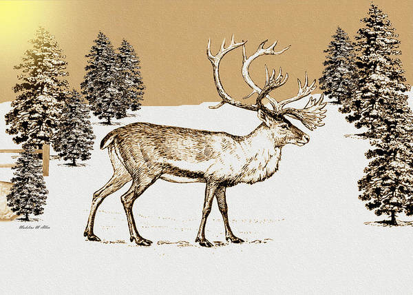Smudgeart Art Print featuring the digital art Caribou by Madeline Allen - SmudgeArt