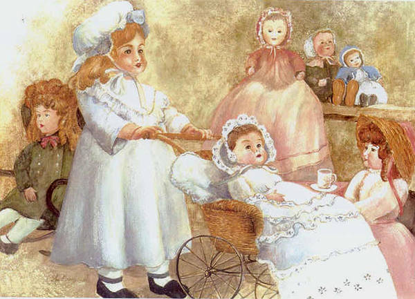 Dolls;toys;antiques;doll Carraige; Art Print featuring the print Caroline's Dolls by Lois Mountz