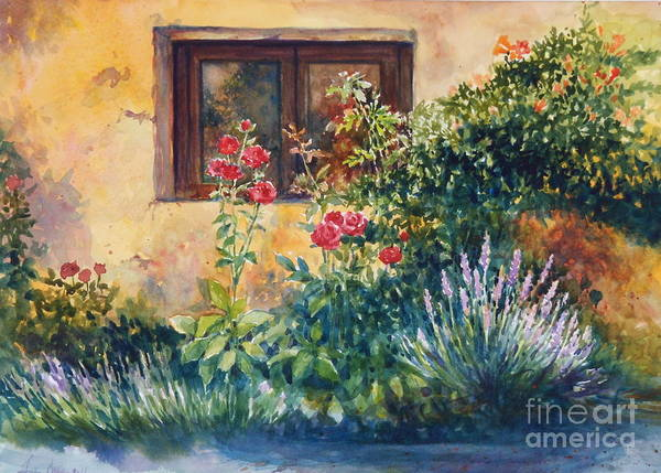 Roses Art Print featuring the painting Casale Grande Rose Garden by Ann Cockerill