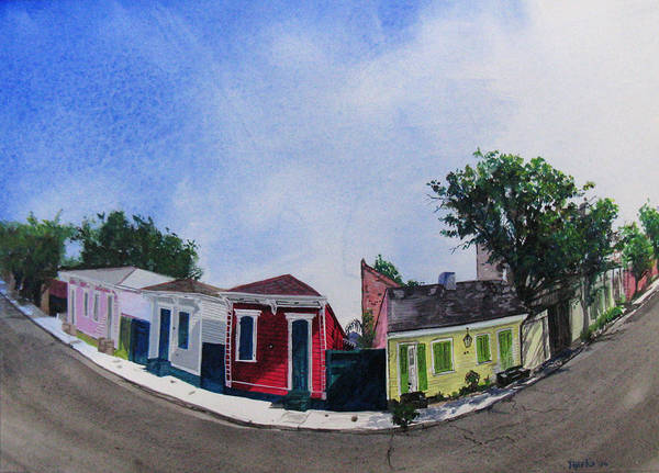 Street Scene Art Print featuring the painting Cat Cottage by Tom Hefko