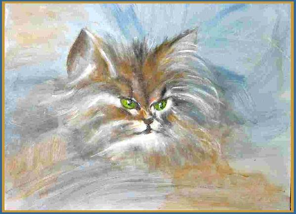 Cat Art Print featuring the painting cat by Dragica Micki Fortuna