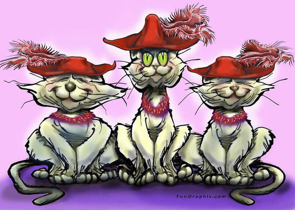 Red Hats Art Print featuring the digital art Cats In Red Hats by Kevin Middleton