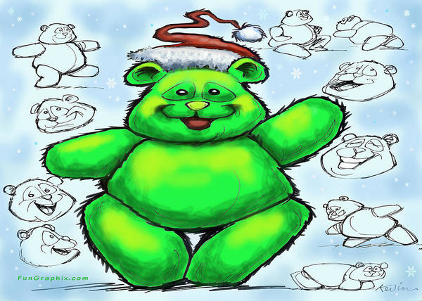 Christmas Art Print featuring the greeting card Christmas Bear by Kevin Middleton