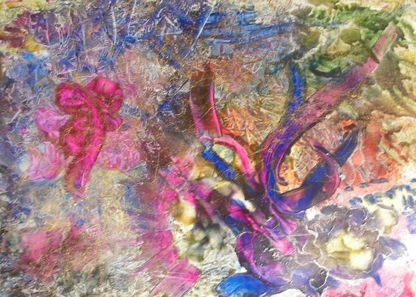 Encaustic Art Print featuring the painting Christmas Ribbons by John Vandebrooke