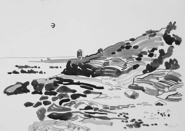Coast Art Print featuring the drawing Coastline Of The Spain by Vitali Komarov