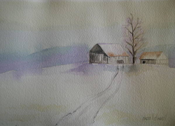 Barn Snow Winter Tree Landscape Cold Art Print featuring the painting Country Snow by Patricia Caldwell