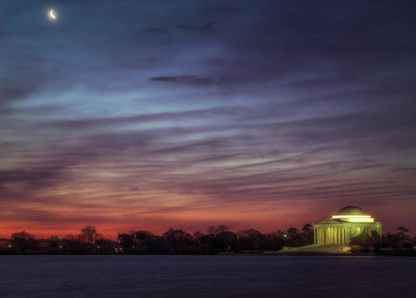 Moon Art Print featuring the photograph Crescent And Memorial by Larry Helms