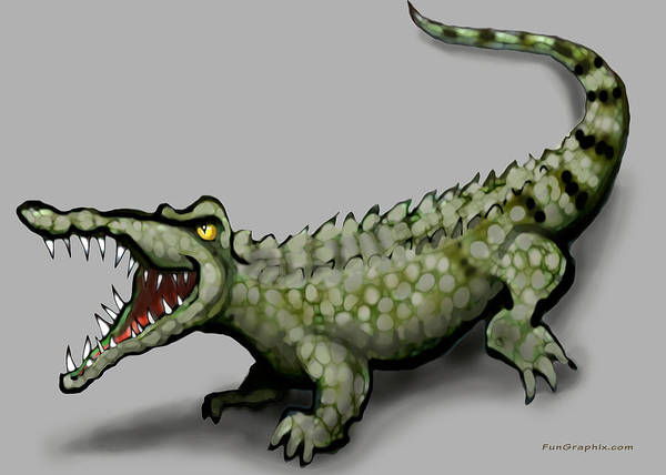 Crocodile Art Print featuring the greeting card Crocodile by Kevin Middleton