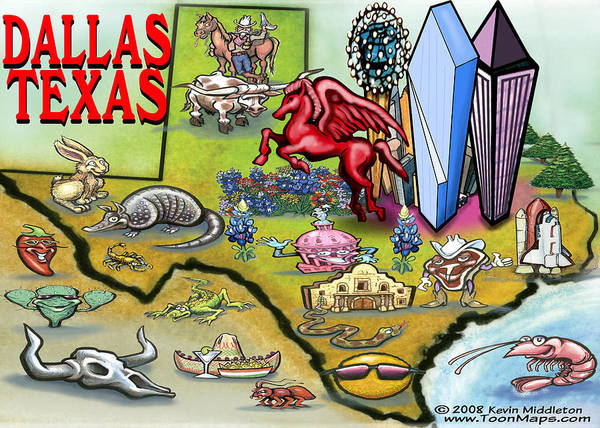 Dallas Art Print featuring the digital art Dallas Texas Cartoon Map by Kevin Middleton