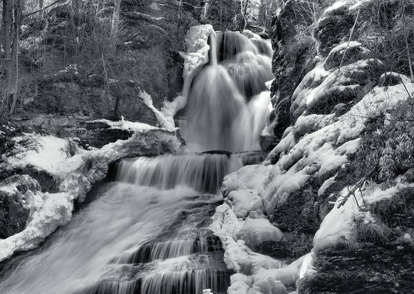 Waterfall Art Print featuring the photograph Dingmans Falls In Winter by Stephen Vecchiotti