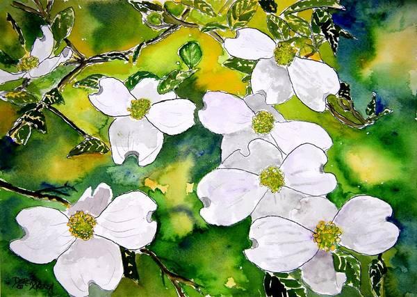Dogwood Art Print featuring the painting Dogwood Tree Flowers by Derek Mccrea