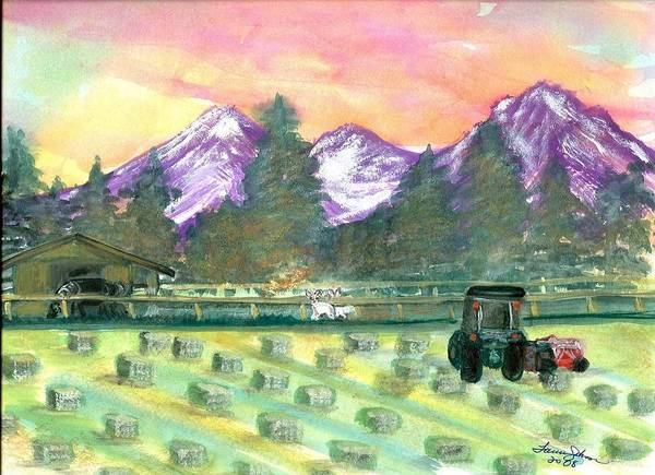 Farmscape Art Print featuring the painting Down On The Farm by Laura Johnson