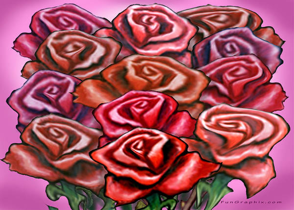 Rose Art Print featuring the painting Dozen Roses by Kevin Middleton