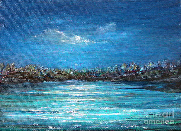 Seascape Art Print featuring the painting Dream Night by Jeannette Ulrich