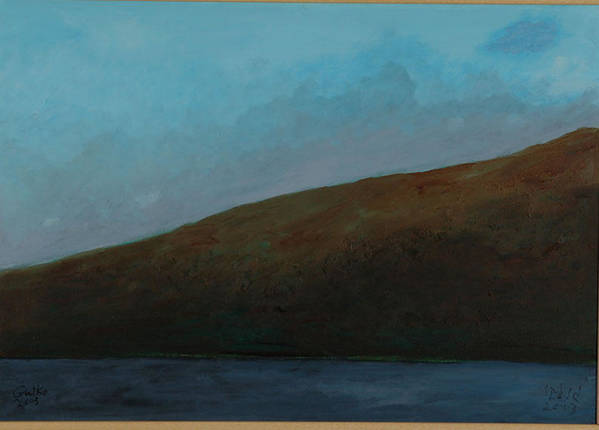 Seascape Mountain Art Print featuring the painting Early Dawn by Harris Gulko