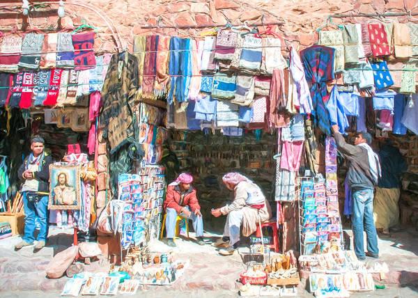 Arab Art Print featuring the digital art Egyptian Shop Keepers 2 by Roy Pedersen
