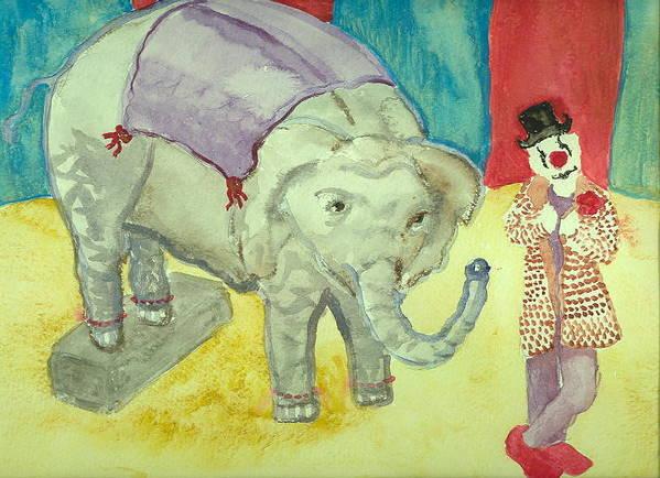 Elephant Clown Circus Fantasy Hillaryart Art Print featuring the painting Elephant Betty And Clown by Hillary McAllister