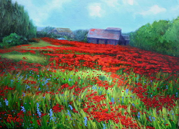 Landscape Art Print featuring the painting en route to Arles by Patricia Reed