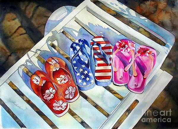 Flip Flops/chaise Lounge Art Print featuring the painting End Of Summer by Gail Zavala
