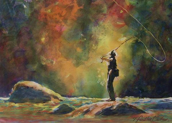 This Is An Original That Has Been Sold. \evening Cast\ Hangs In A Beautiful Home And Is Loved By Any Fisherman Art Print featuring the painting Evening Cast by Therese Fowler-Bailey