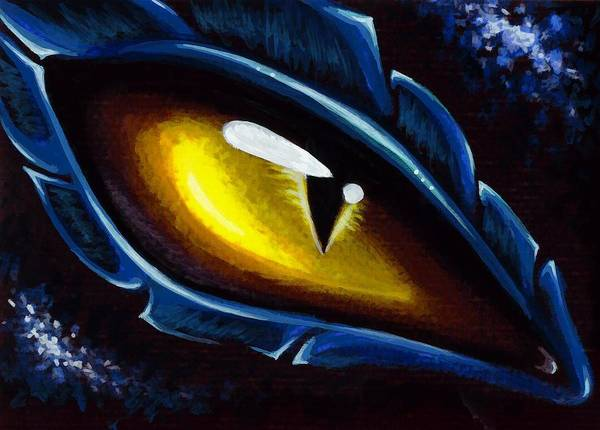Dragon Eye Art Print featuring the painting Eye Of The Blue Dragon by Elaina Wagner