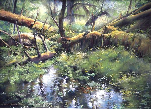 Trees Art Print featuring the painting Fallen Giants by Marion Hylton