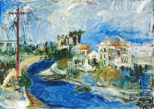 Town Houses Trees Palmtrees Street Blue Sky Art Print featuring the painting Famagusta by Joan De Bot