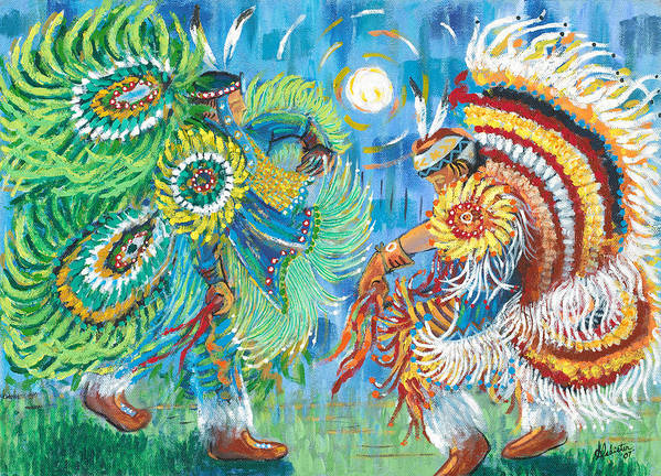 Dancers Art Print featuring the painting Fancy Dancers by Arnold Isbister