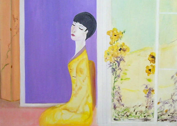 Oriental Lady Art Print featuring the painting Femme En Jaune by Michela Akers