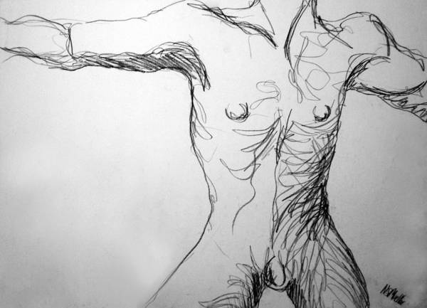 Figure Art Print featuring the drawing Figure Drawing 5 by Nancy Mueller