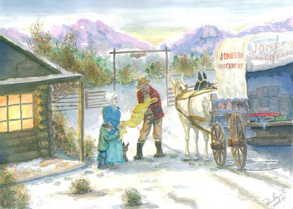 Pioneer Shopping Art Print featuring the painting First Snow - Last Call by Dan Bozich