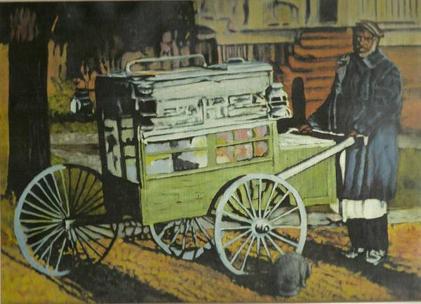 Art Print featuring the painting Fish Peddler by Perry Ashe